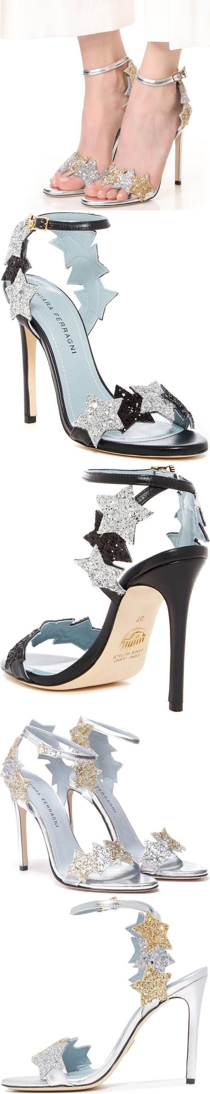 Glitter-encrusted stars trim the slim straps on these eye-catching Chiara Ferragni 'Star' sandals that we spotted on Heidi Klum