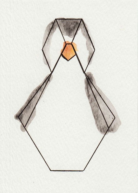 "Aquarelle ""Pingouin"" - Série Origami via 1.2.3 P'tits Choux. Click on the image to see more!"