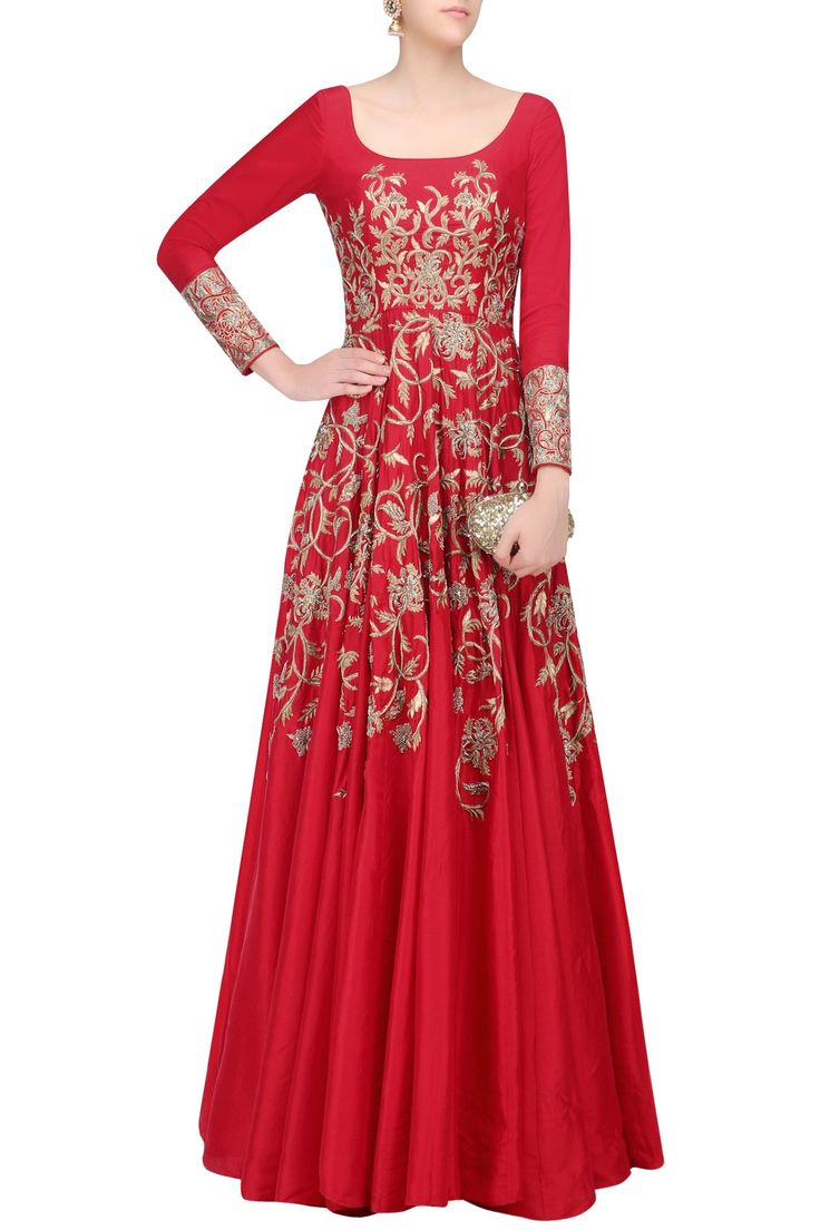 Red floral embroidered kalidaar anarkali gown available only at Pernia's Pop Up Shop.