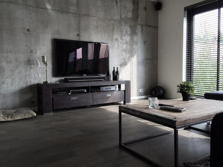 Tom Haga - Concrete Wallpaper TV Room - Inside Out July 2015 - Interior Design Magazines | designlibrary.com.au