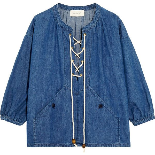 The Great Rope-detailed lace-up denim top found on Polyvore featuring tops, mid denim, loose fitting tops, lace front top, laced tops, laced up top and blue slip
