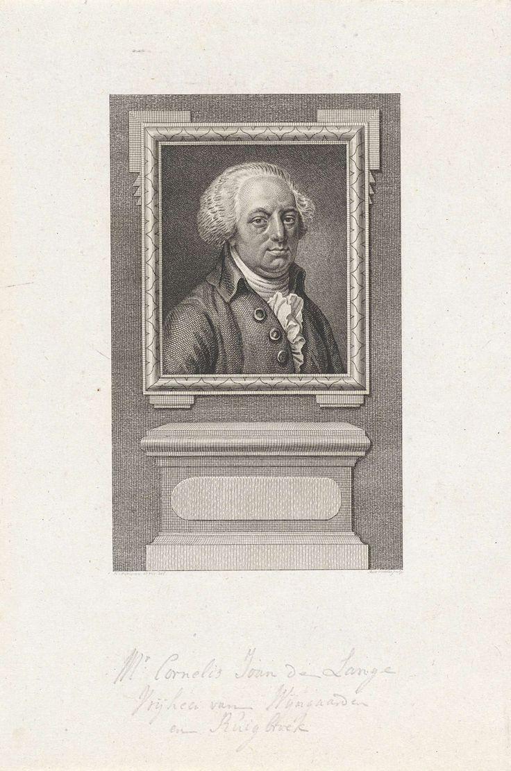 Reinier Vinkeles   Portret van Cornelis Johan de Lange van Wijngaarden, Reinier Vinkeles, 1786 - 1809   Portret van Cornelis Johan de Lange van Wijngaarden, schepen en raad van Gouda.