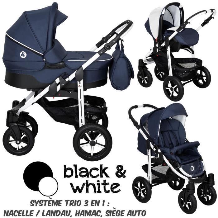 poussette combin e trio 3 en 1 b w bleu marine bebe. Black Bedroom Furniture Sets. Home Design Ideas