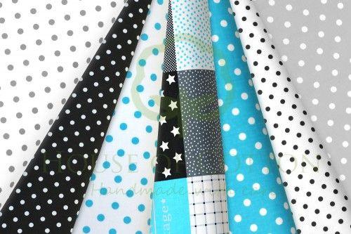 Black, gray & aqua marine patchwork cotton fabric set / Zestaw patchworkowy turkusowy