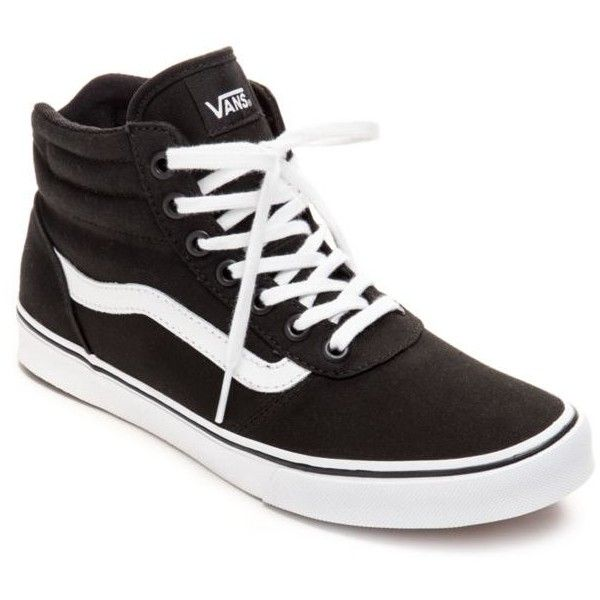 Vans Canvas Black Milton High Top Sneakers - Women's ($65) ❤ liked on Polyvore featuring shoes, sneakers, canvas black, black trainers, black shoes, high-top sneakers, vans shoes and vans sneakers