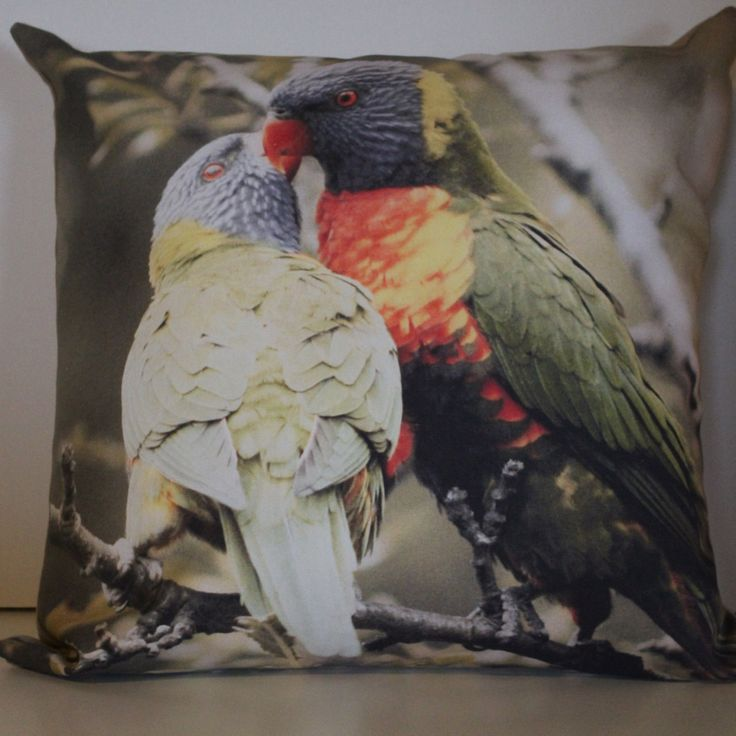 KISSING LORIKEETS in VINTAGE Cushion Cover, wildlife cushion, animal cushion, wildlife pillow, decorative pillow, vintage style, Australian by MuddyPuddleFarm on Etsy
