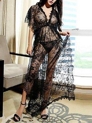 Chemises & Blouses Vêtement de nuit Femme,Sexy / Lace Couleur Pleine-Mince Dentelle Noir Aux femmes