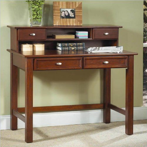Home Styles 5532-16 Hanover Student Desk, Cherry Finish by Home Styles. $226.00. The hanover student desk is made of wood solids and veneers. Comes with multi step cherry finish. Only assembly is attaching legs. Features on a two drawers on easy open glides. Easy to assemble. Measures 42-inch width by 24-inch depth by 30-inch height.