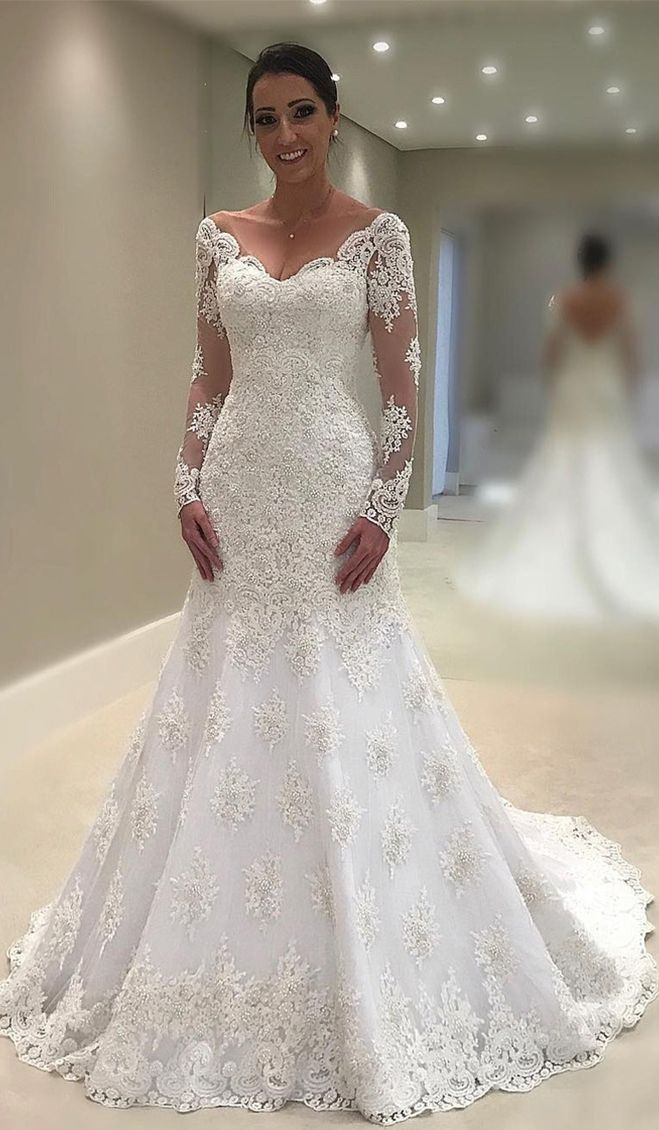 2018 Mermaid Trumpet Wedding Dresses V Neck Long Sleeves Tulle With Applique  And Beads  Mermaid  Trumpet  WeddingDresses  VNeck  LongSleeves  Tulle   ... 4a3f0dc39b7a