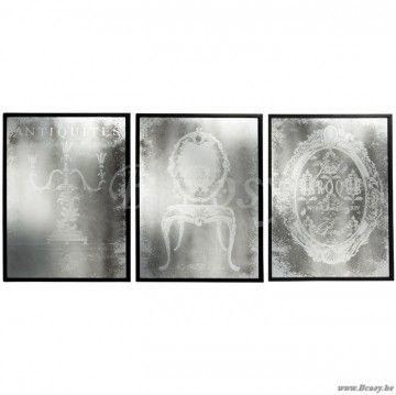 J-Line Kaders met antieke retro spiegel en zwarte kader 60 Assortiment van 3 stuks
