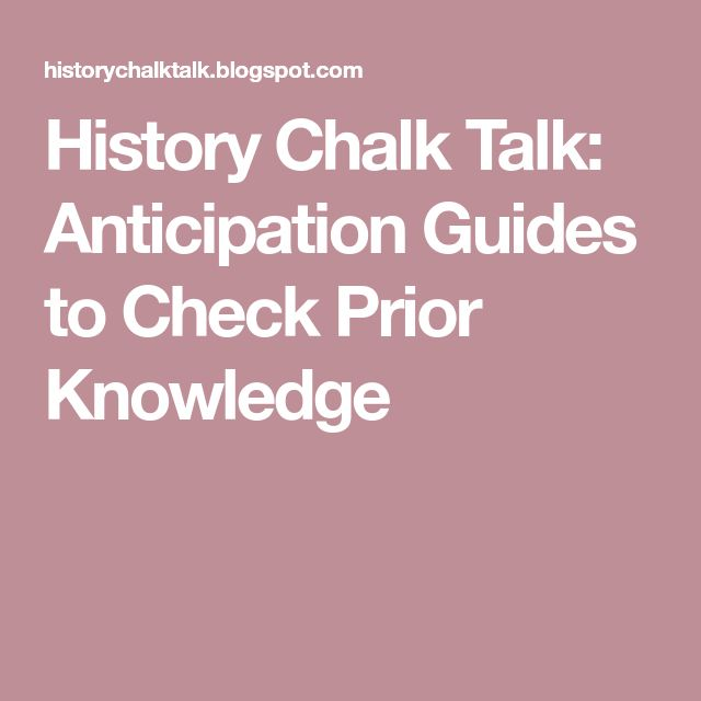 History Chalk Talk: Anticipation Guides to Check Prior Knowledge