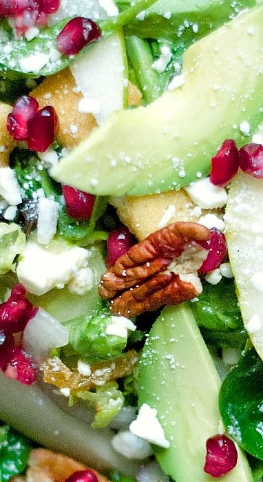 Winter Salad --Best salad ever! Used craisans instead of pomegranates and Paul Neuman Oil & Vinegar for the dressing