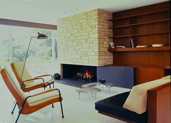 """""""The Singleton House"""" by Richard Neutra 1959.  lamp, chairs, fireplace. I wish I had no possessions..."""