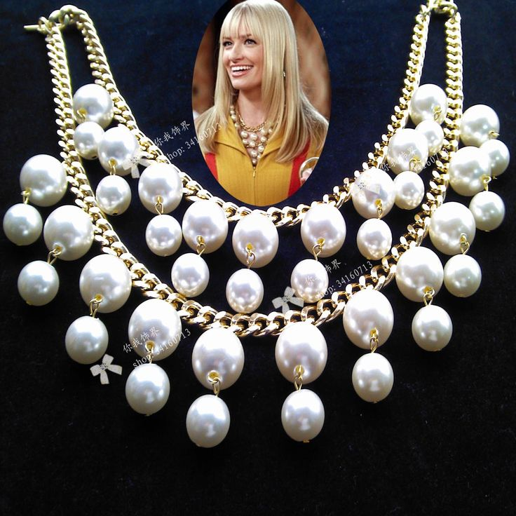 Inspried by the CBS comedy series 2 Broke Girls , this bold pearl statement necklace is fashioned after the one worn by the character Caroline channing , as portrayed by Beth Behrs. Description from aliexpress.com. I searched for this on bing.com/images