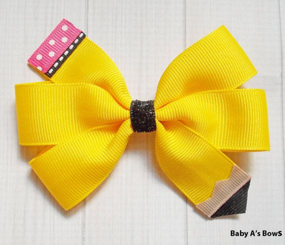 Yellow Pencil Pinwheel Bow  Pencil Bow Yellow Pencil by BabyABows