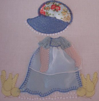 BES384_SINGLE: Country Sunbonnet1 Country Sunbonnet done in pretty satin and matching 'granny print'.  Bring her to 'life' using our 'stump work' method.  She is so pretty and perfect for all those special projects.  Country Sunbonnet is really fun to make ;) http://tinyurl.com/hnnn5dd