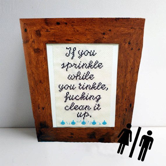 Funny Embroidery Stitch - If you sprinkle while you tinkle Cross Stitch - humorous bathroom art on Etsy, $32.26
