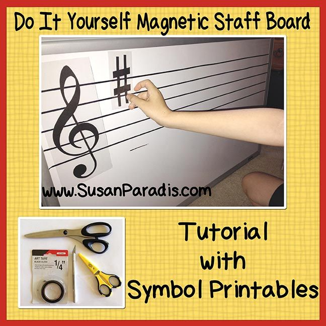 Magnetic Board Symbols-1 I've always wanted one of those big magnetic white boards  with a  music staff. They are expensive, however, so for years I've been planning on making my own. R…