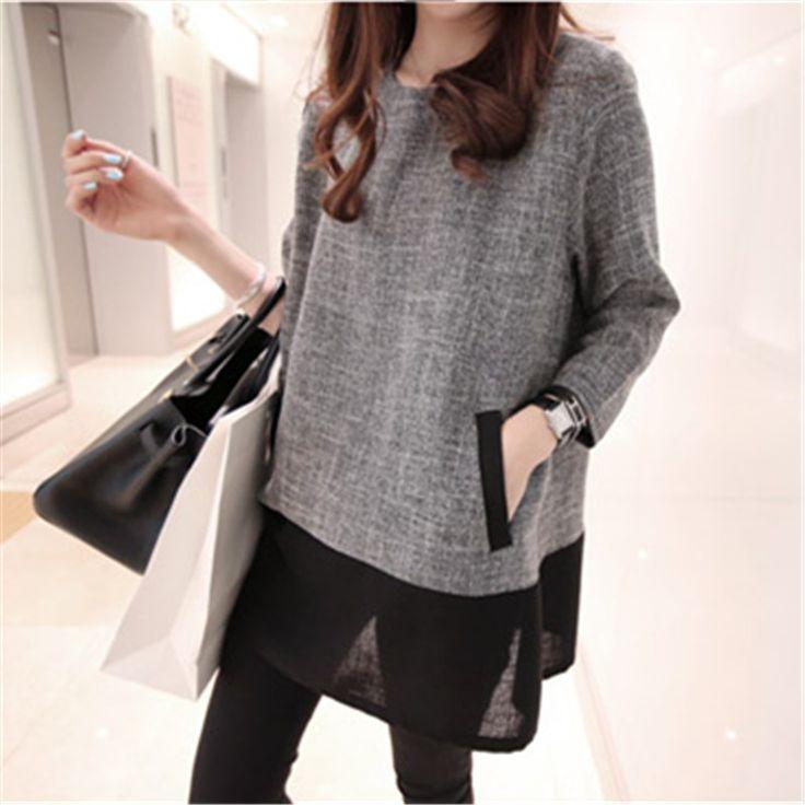 Женщины Топы И Блузки 2016 Новая Мода Плюс Размер Женщин одежда О-Образным Вырезом С Длинным Рукавом Полотняной Рубашки Белый Серый XXXL 4XL 5XL(China (Mainland))