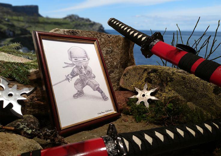 """Sneaky Ninja"" -  Hiro, the Kuji magic master from the game Mini Ninjas. Pencil drawing. © Morten Vollheim"