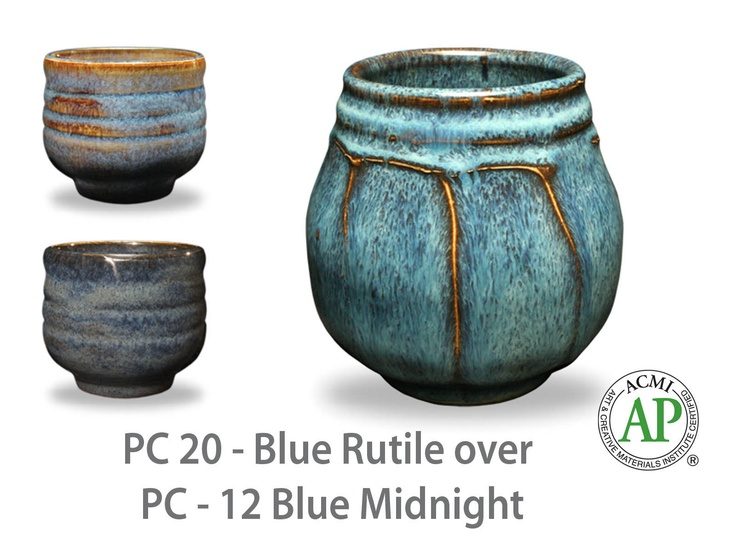PC20 Blue Rutile over Blue Midnight.  one thick coat of PC-12 Blue Midnight as a base. Then three coats of the top coat were applied. Let dry between coats. Josh uses a fan brush to apply the glazes. He says this allows for a more even coverage. AMACO® 46-M, a Cone 5/6 stoneware clay was used to create the cups.