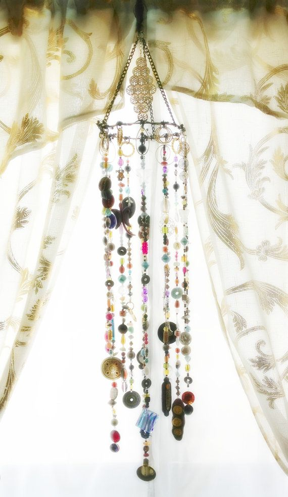 Boho Decor Bohemian Inspired Mobile Suncatcher Hanging by LiLaOh