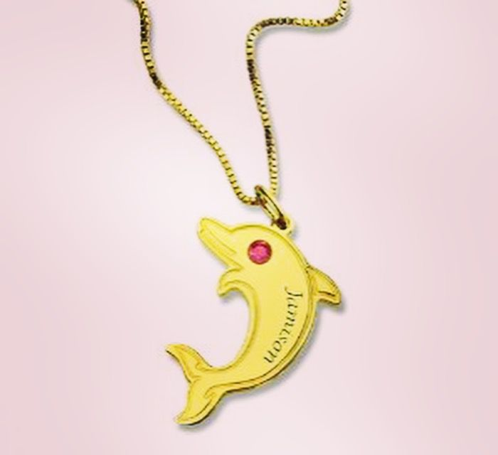 Dolphin Name Necklace with Birthstone gold plated