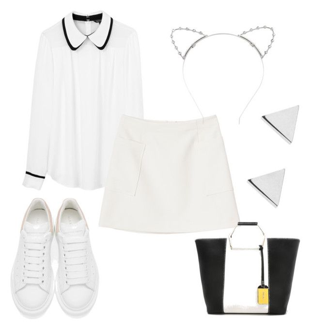 """White mini skirt"" by natashausa on Polyvore featuring мода, Tara Jarmon, Monki, Alexander McQueen, Lipsy и Jennifer Meyer Jewelry"