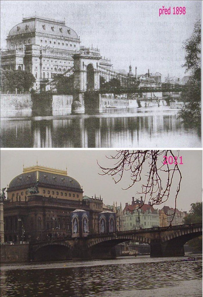 Národní divadlo a původní řetězový most císaře Františka I. sloužil do roku 1898. Nahradil jej kamenný most Legií, který se stavěl v letech 1898–1901.