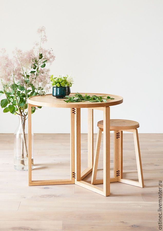 Купить Изысканный комплект: дубовый стол и табурет - бежевый, стол, столик, дубовый стол