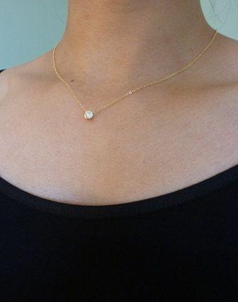 tiny diamond look necklace in goldbezel set by MomentusNY on Etsy, $32.00