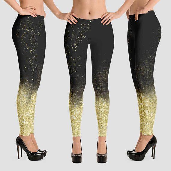 27775326dc1 Christmas Leggings printed Gold glitter tights Black leggings ...