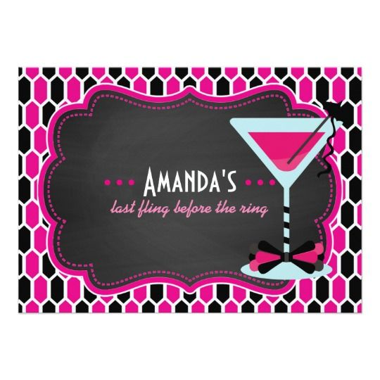 Bachelorette Party Hen Night Cocktails Chalkboard 5x7 Paper Invitation Card