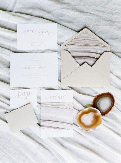 Geode: http://www.stylemepretty.com/little-black-book-blog/2015/05/18/organic-seaside-wedding-inspiration/   Photography: Brancoprata - http://www.brancoprata.com/