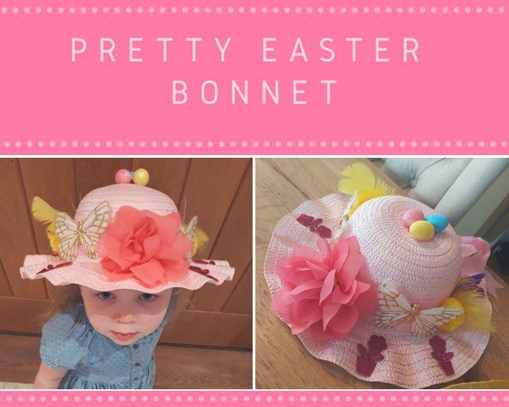 Simple pretty Easter Bonnet with flowers - butterflies