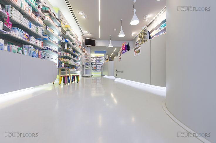 A subtle, bright and professional looking #floor which is also hygienic and easy to maintain. That is what this drugstore owner was looking for and found, with the light grey Liquid Mellow. Providing a nice contrast between a clear #flooring and all the colorful medicines.   #gietvloer #gietvloeren #interiordesign #binnenhuisarchitectuur #retail #apotheek #apotheker #design #interieur #castfloors #epoxy #puvloer #interieurdesign #spacedesign #winkelinrichting