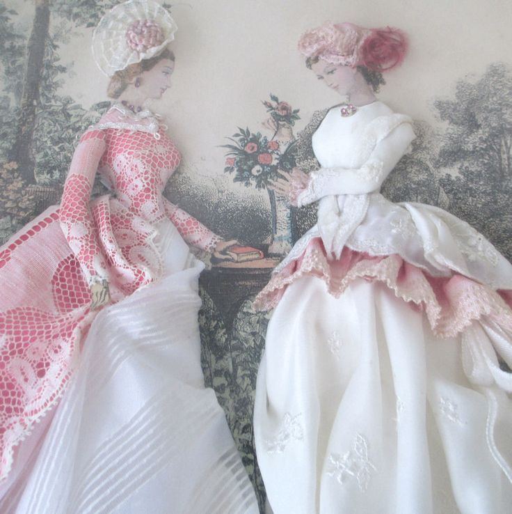 Embellished LA MODE ILLUSTREE Paris 2 LADIES Silk LACE Flowers * GILT Shadow Box