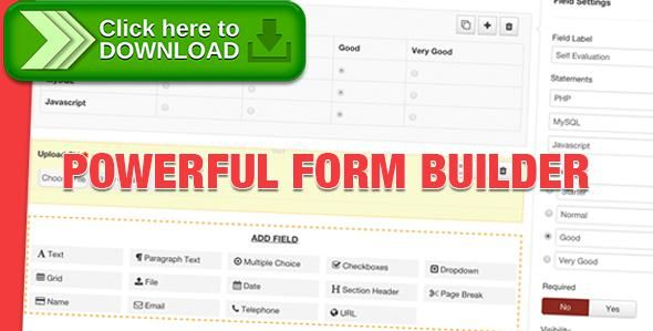 [ThemeForest]Free nulled download Geek Form Builder Component from http://zippyfile.download/f.php?id=44453 Tags: ecommerce, collect payments online, Donation form, drag-n-drop form builder, feedback form, form builder, form collect data, form statistics, job application form, Joomla form, Joomla Form Builder, online order form, online payment form, opinion poll, Personalized Email Notifications, Survey Form