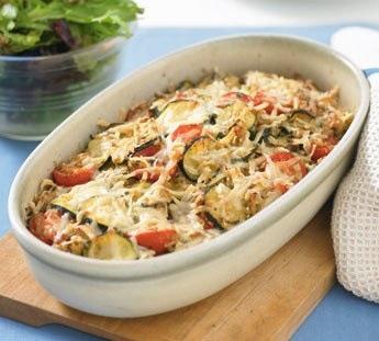 Baked Rice, Tomato and Zucchini
