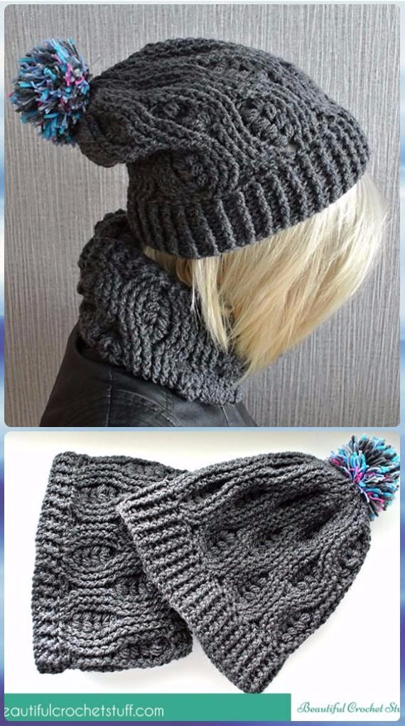 Crochet Wheat Stitch Infinity Scarf and Beanie Hat Free Pattern - Crochet Wheat Stitch Free Patterns [Video]
