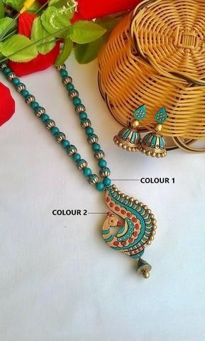 Blue peacock Terracotta jewelry Set