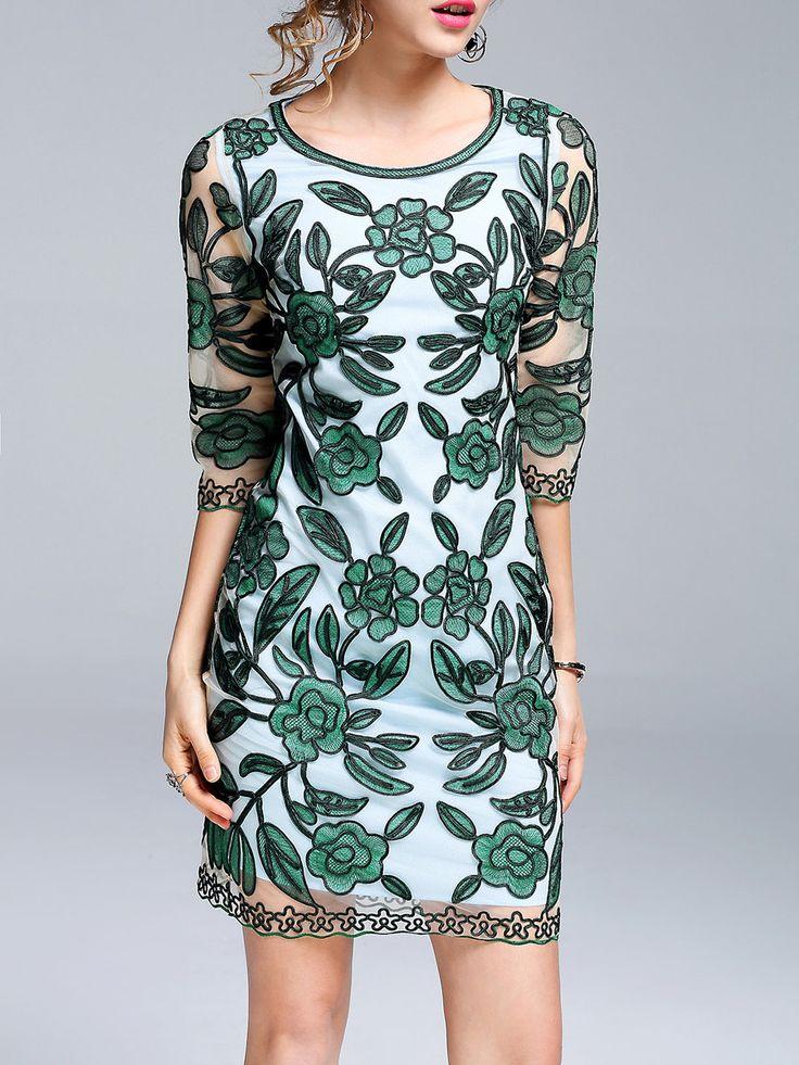 #AdoreWe StyleWe Midi Dresses - KK2 Floral-embroidered Vintage Sheath 3/4 Sleeve Midi Dress - AdoreWe.com