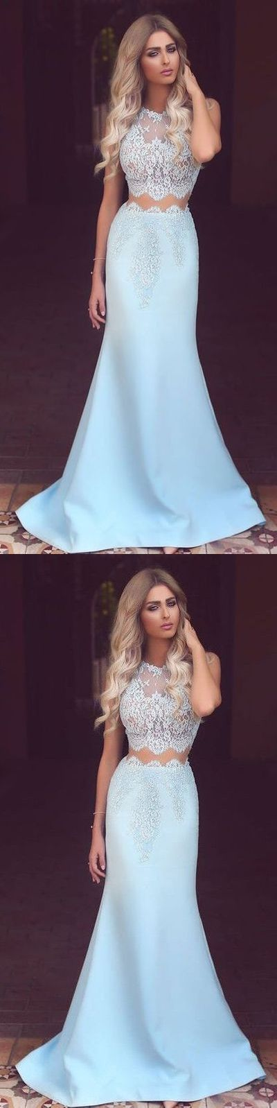 Lace Two Pieces Long Prom Dress, Light Blue Prom Dress, Long Tulle Lace Prom Dress, Formal Dresses, Evening Wedding Party Gown,468