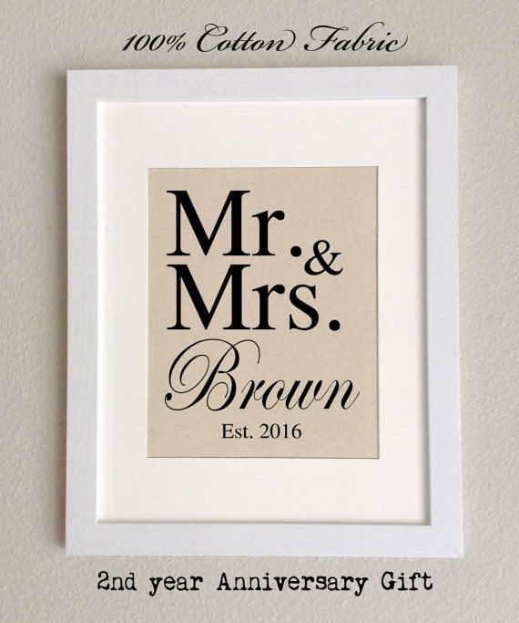 Cotton Anniversary Gift MR & MRS The perfect gift by 505Vintage