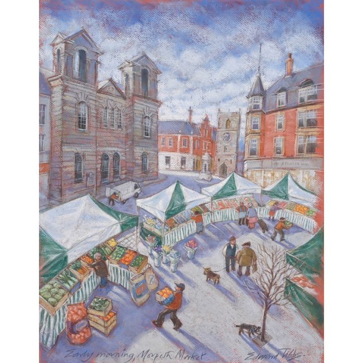 Early Morning Market - Morpeth signed limited edition print by Edward Tibbs