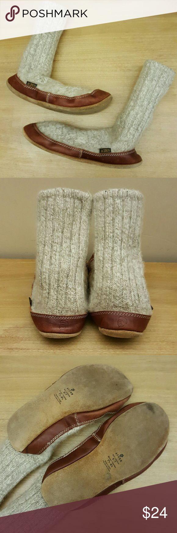 Acorn Leather Pull-on Wool Slipper Socks Acorn Slipper Socks. Women's 7.5 - 8.5 / men's 6 - 7. Barely worn. EUC Acorn Shoes Slippers