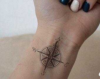 compass wrist tattoo