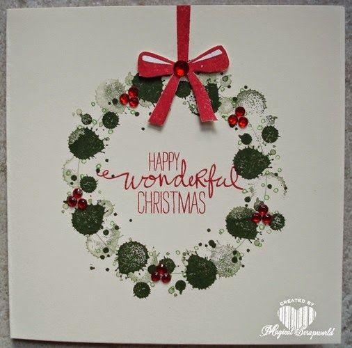 Magical Scrapworld: Christmas card, Stampin' Up! gorgous grunge, wonderous wreath.