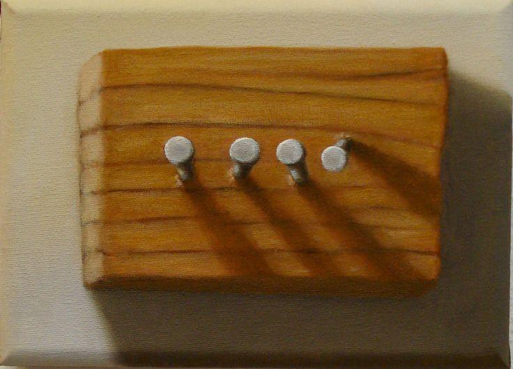 Clavos y madera (2013) - Óleo sobre tela (13x18)
