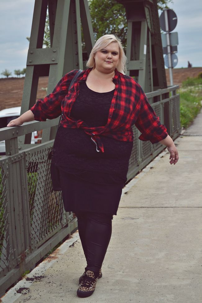 Plus Size Outfit black dress and Lumberjack